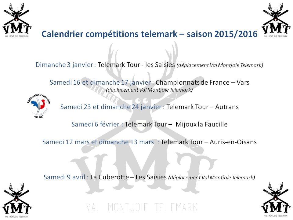Calendrier Compétitions_Saison 1516