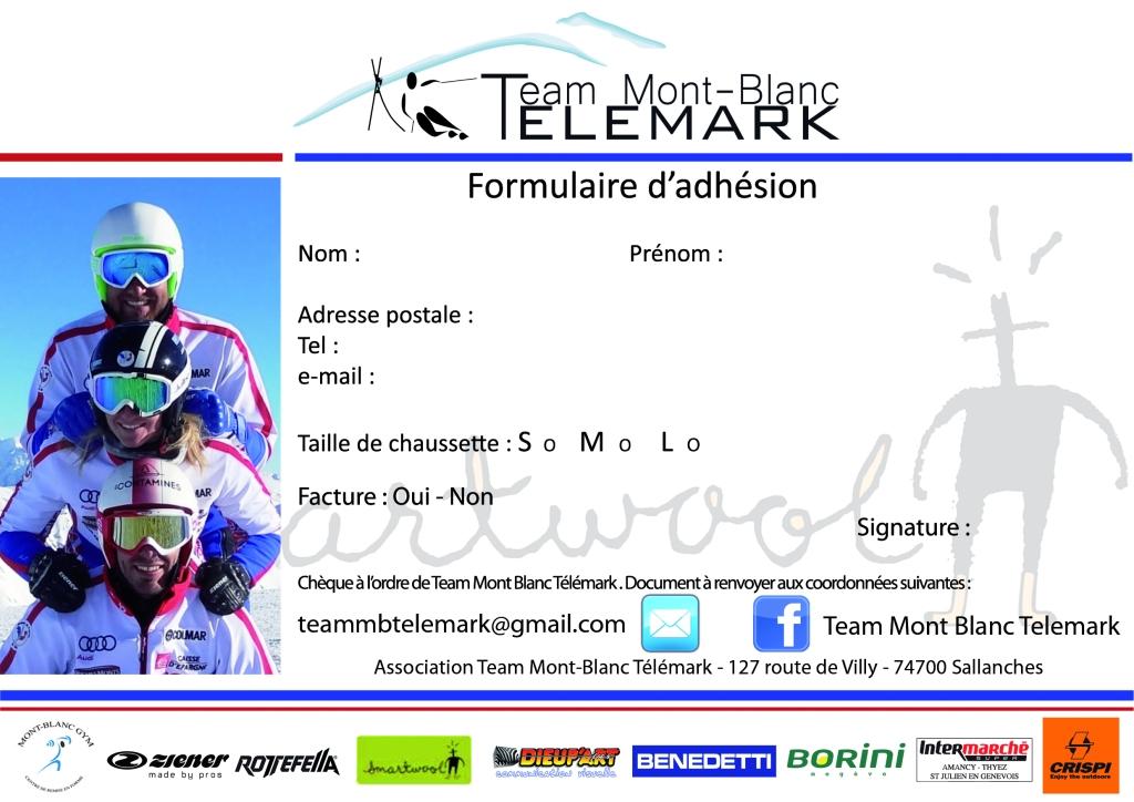 fiche adhésion Team Mont-Blanc telemark